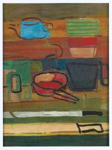 """""""Stilleben mit Messer"""" 1990, Eitempera auf Hartfaser, 81 x 61"""