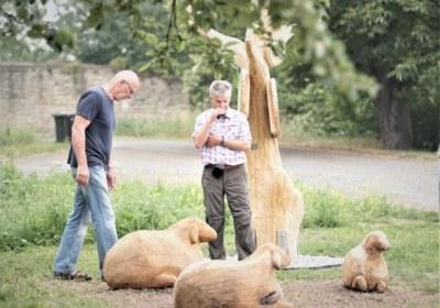 Drei Schafe und ihre zwei Hirten